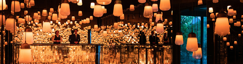 Интерактивный свет от TeamLab украсил ресепшн в японском отеле